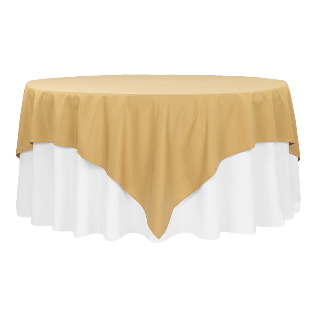 "Economy Polyester Table Overlay Topper/Tablecloth 90""x90"" Square - Gold"