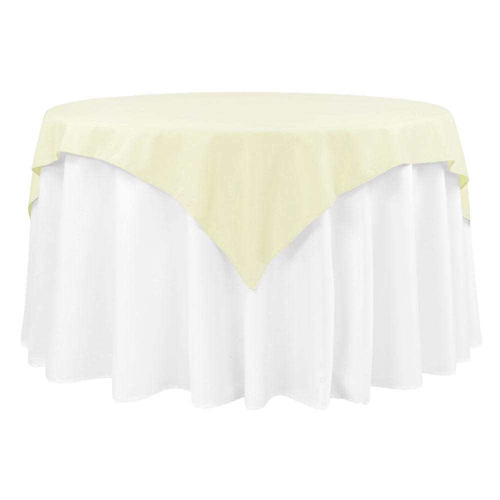 "Economy Polyester Table Overlay Topper/Tablecloth 54""x54"" Square - Ivory"