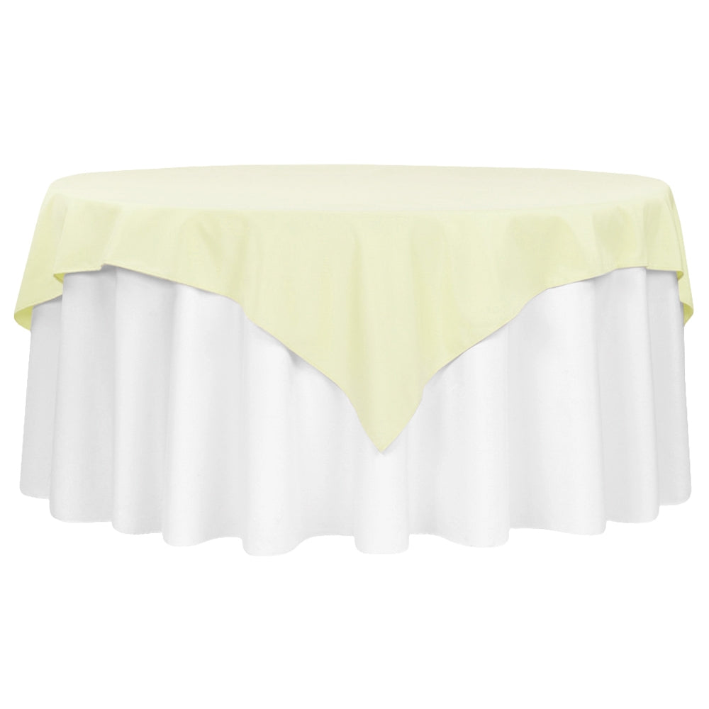 "Economy Polyester Table Overlay Topper/Tablecloth 72""x72"" Square - Ivory"