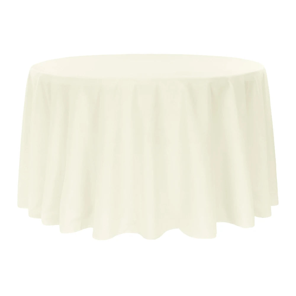 "Economy Polyester Tablecloth 132"" Round - Light Ivory/Off White"