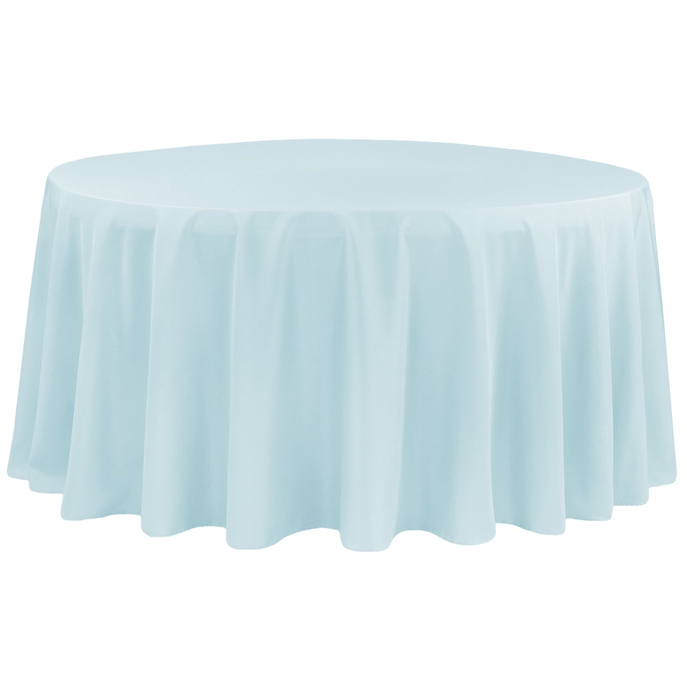 "Economy Polyester Tablecloth 132"" Round - Baby Blue"