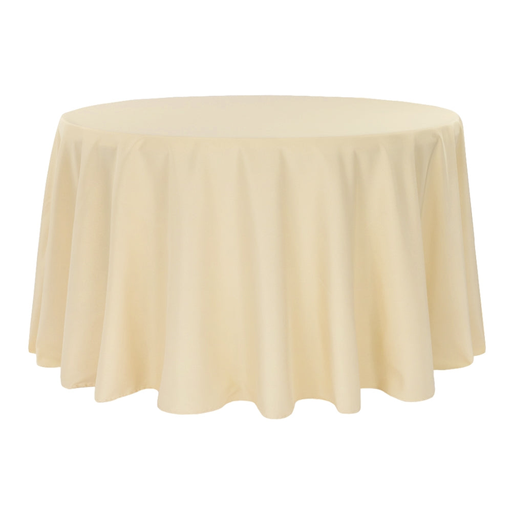 "Economy Polyester Tablecloth 120"" Round - Champagne"