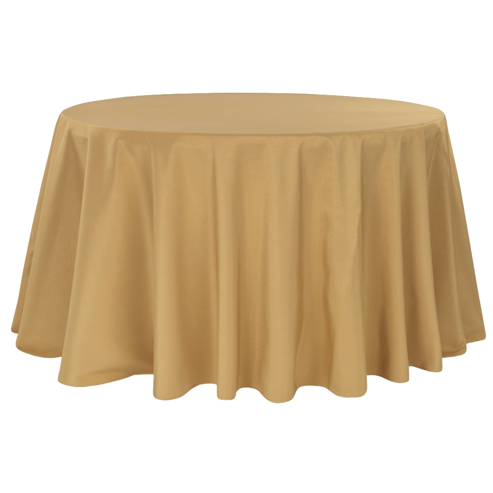 "Economy Polyester Tablecloth 120"" Round - Gold"