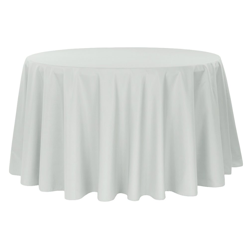 "Economy Polyester Tablecloth 132"" Round - Gray/Silver"