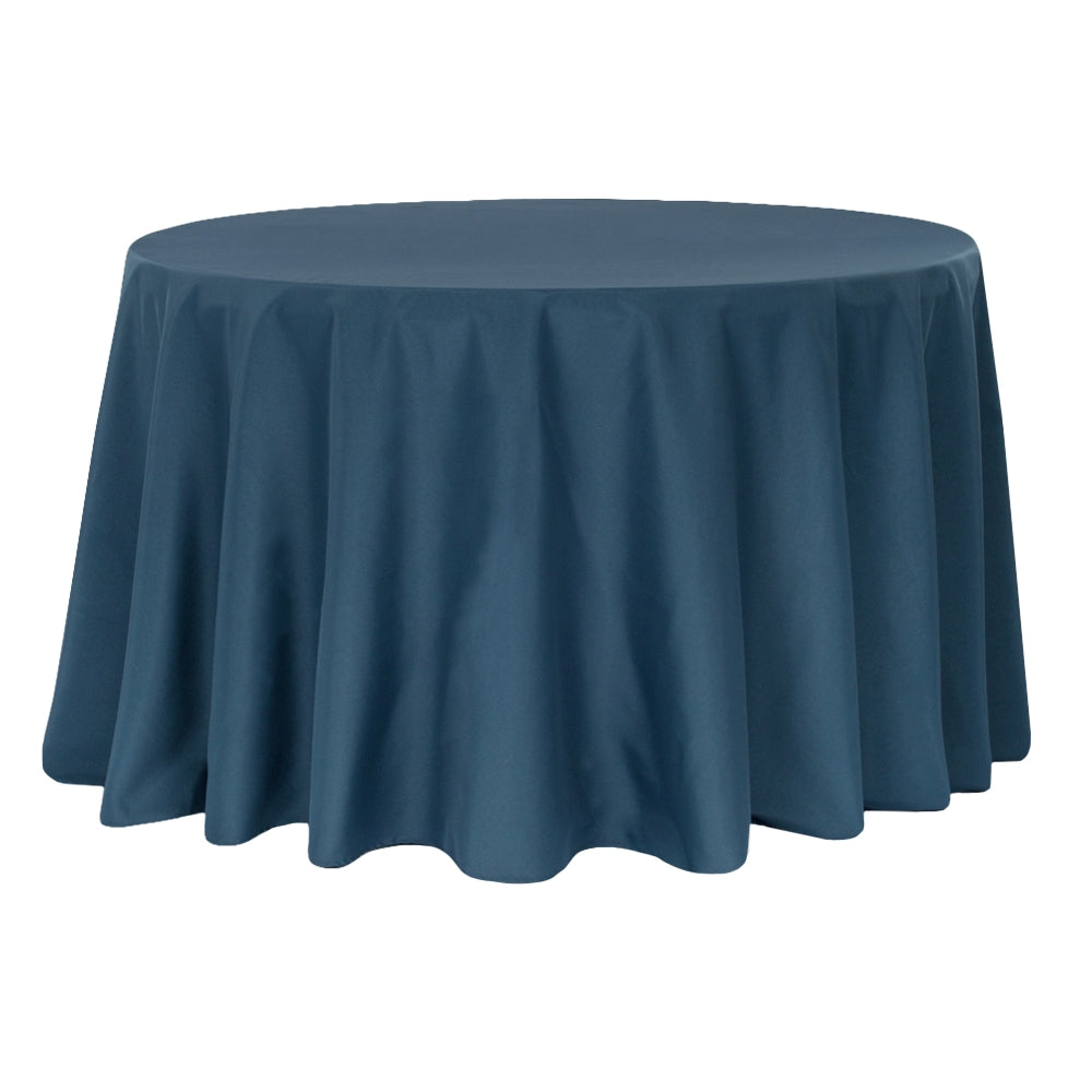 "Economy Polyester Tablecloth 132"" Round - Navy Blue"