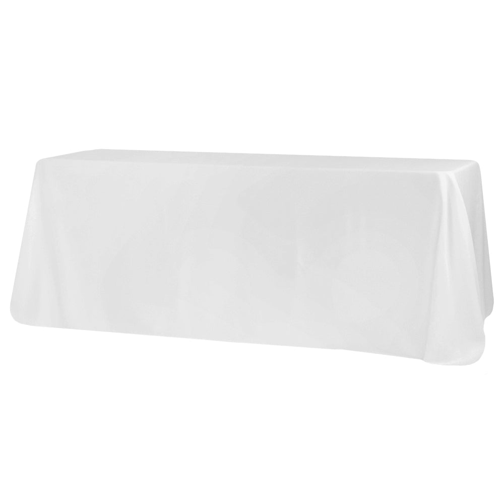"Economy Polyester Tablecloth 90""x132"" Oblong Rectangular - White"