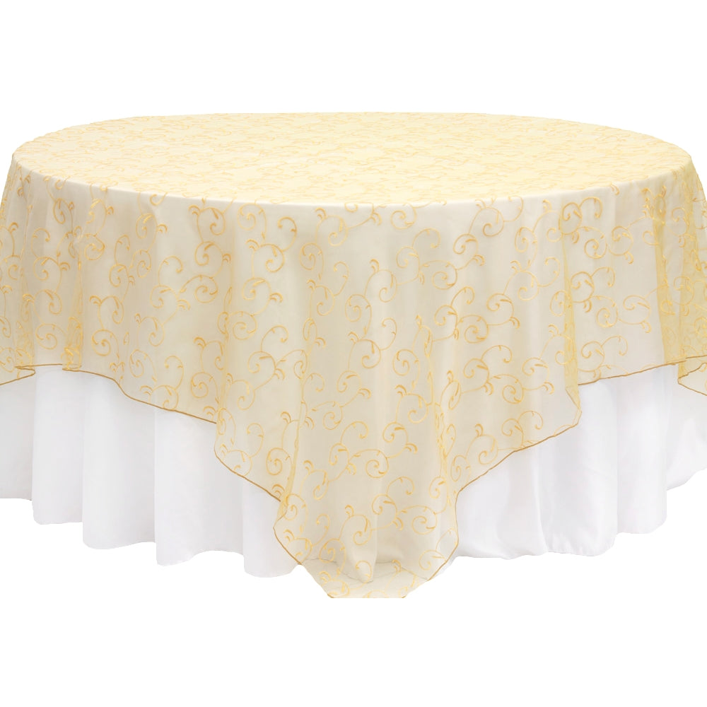 "Embroidery Organza (No Satin Trim) 90""x90"" Square Overlay Table Topper - Gold"
