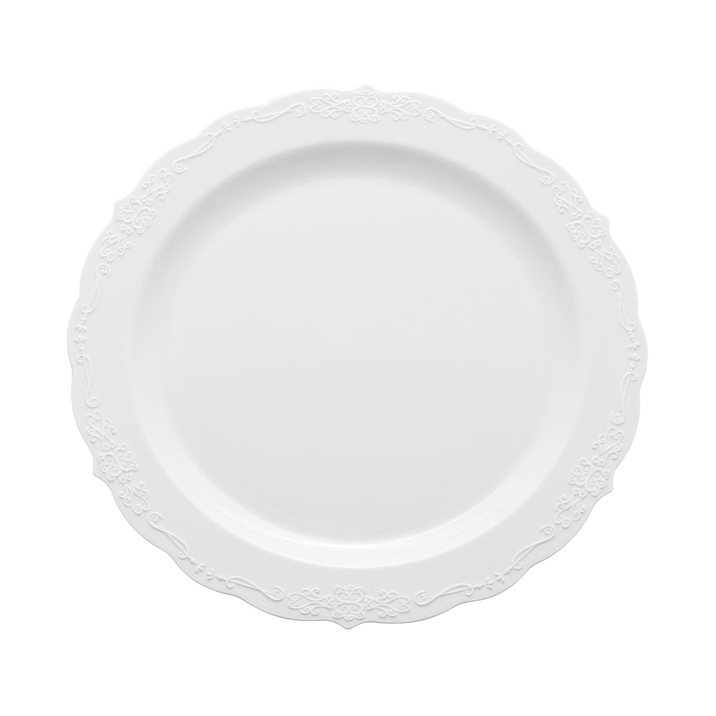 "Embossed Vintage Plastic Plates 7.5"" Small (10/pack) - White"