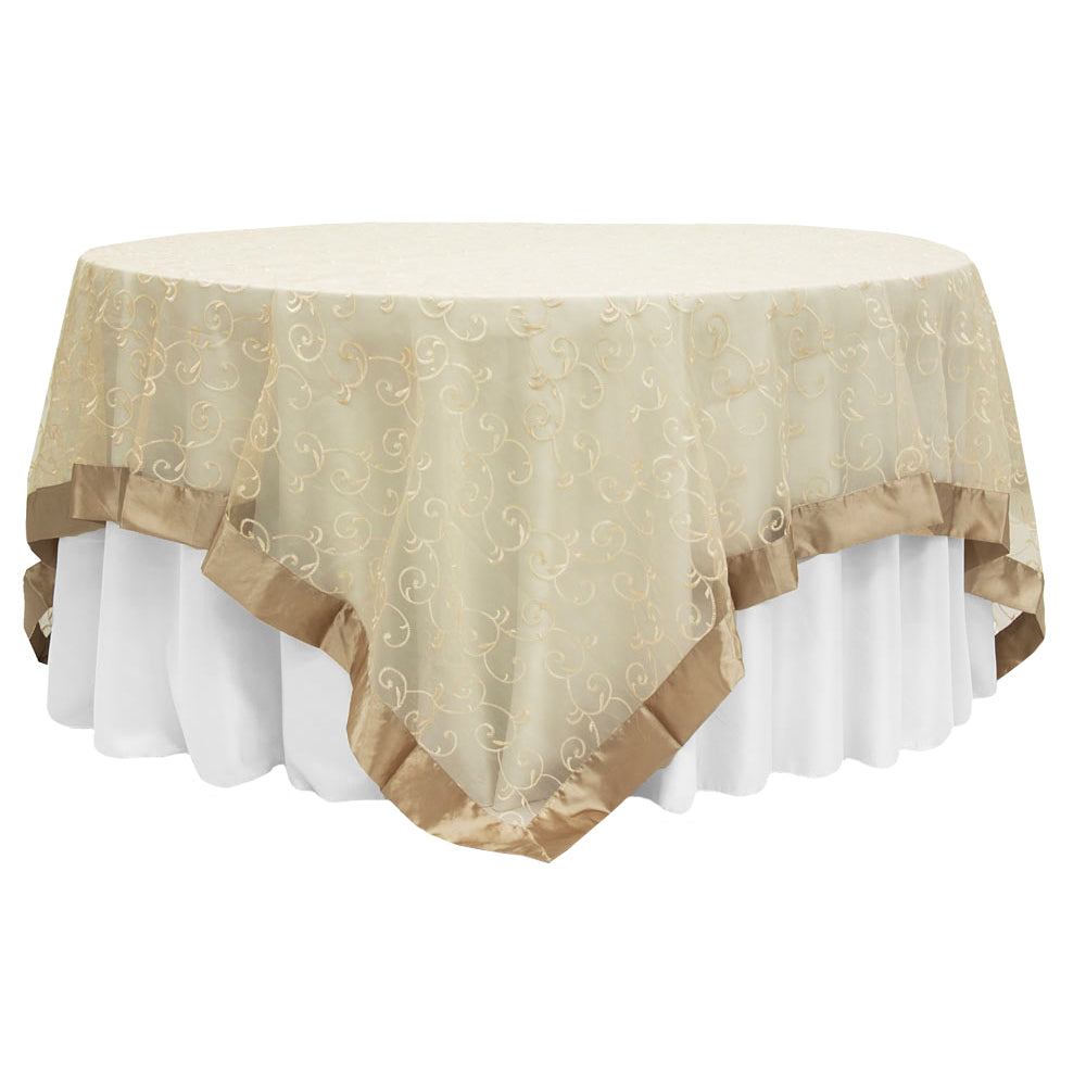 "Embroidery Swirl Overlay 90""x90"" Square Table Topper - Champagne"