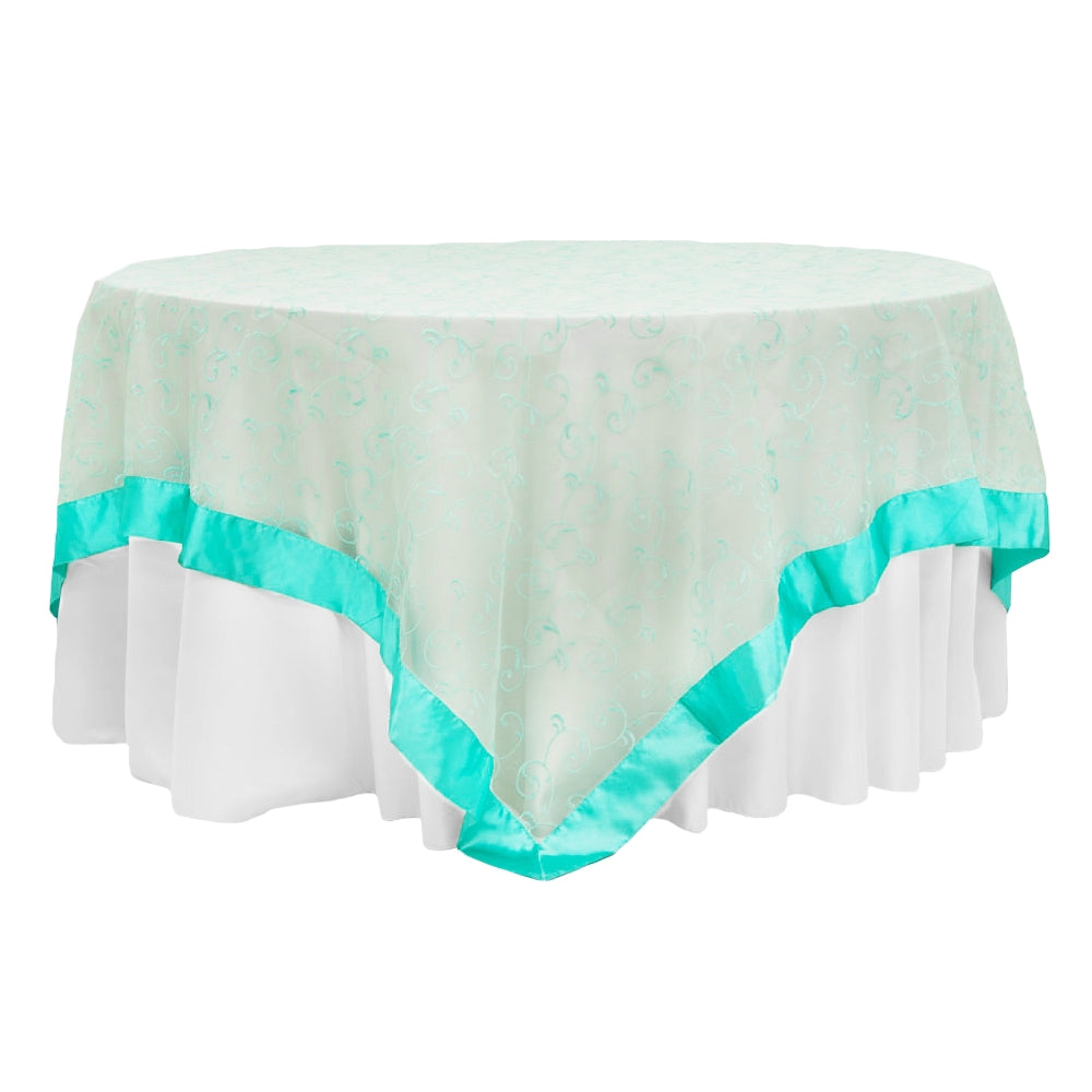 "Embroidery Swirl Overlay 90""x90"" Square Table Topper - Light Turquoise (Clearance)"