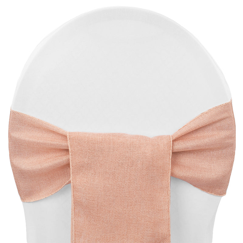 Faux Burlap Chair Sash - Blush/Rose Gold