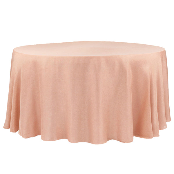 Faux Burlap Tablecloth 120 Quot Round Blush Rose Gold Cv