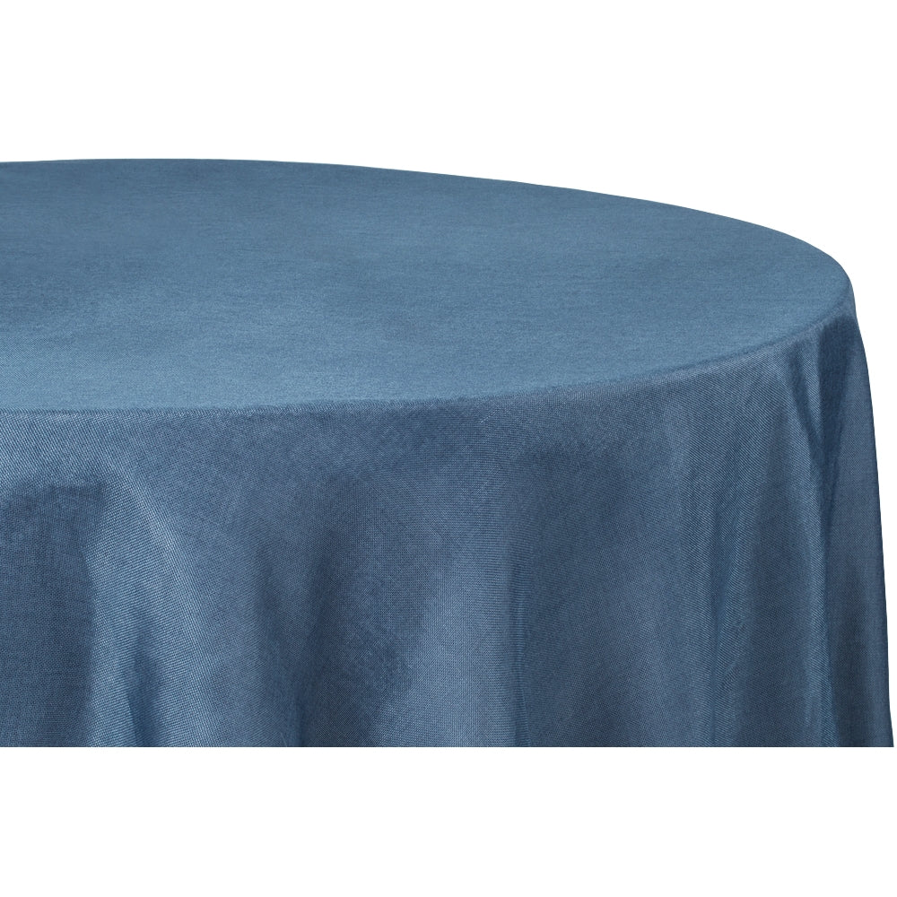 "Faux Burlap Tablecloth 132"" Round - Navy Blue"