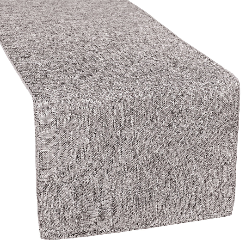 Faux Burlap Table Runner - Gray