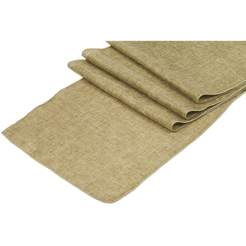 Faux Burlap Table Runner - Natural Tan