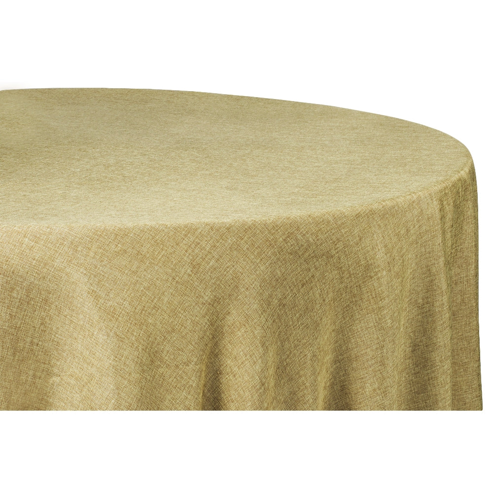 "Faux Burlap Tablecloth 132"" Round - Natural Tan"