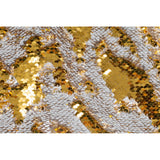 "Flip Up Reversible Two Tone Sequin Table Overlay 90""x90"" Square - Gold & Silver"