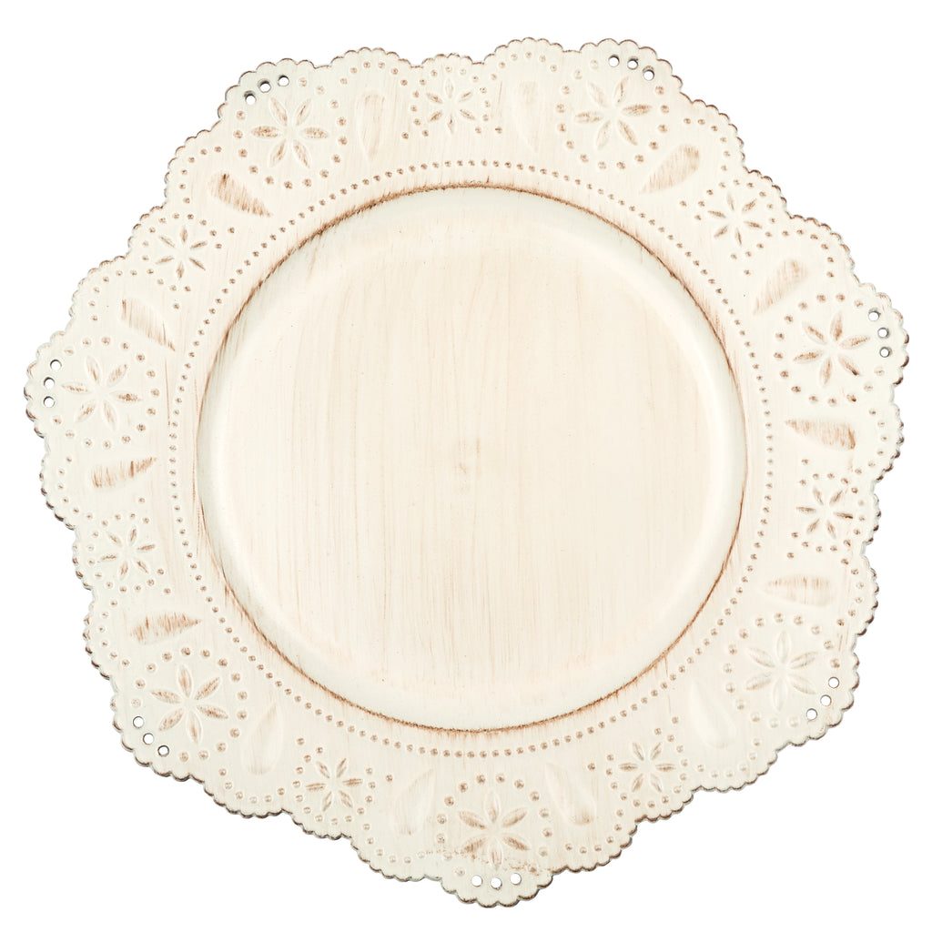 Flower Edge Beach Star Charger Plate - Antique Brushed Ivory