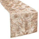 Flower on Sequin Taffeta Table Runner - Champagne