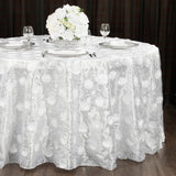 "Flower on Sequin Taffeta Tablecloth 132"" Round - White"