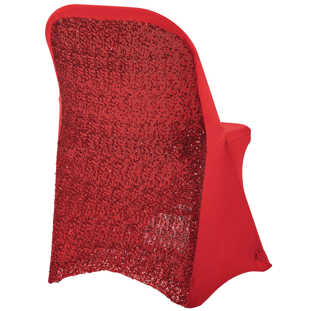 Folding Glitz Sequin Spandex Chair Cover Red Cv Linens