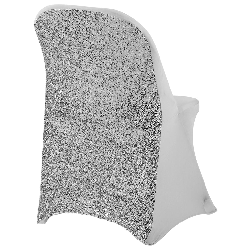 Folding Glitz Sequin Spandex Chair Cover Silver Cv Linens