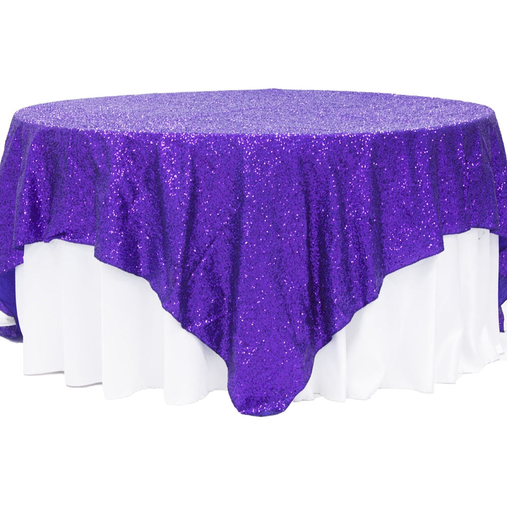 "Glitz Sequin Table Overlay Topper 90""x90"" Square - Purple"