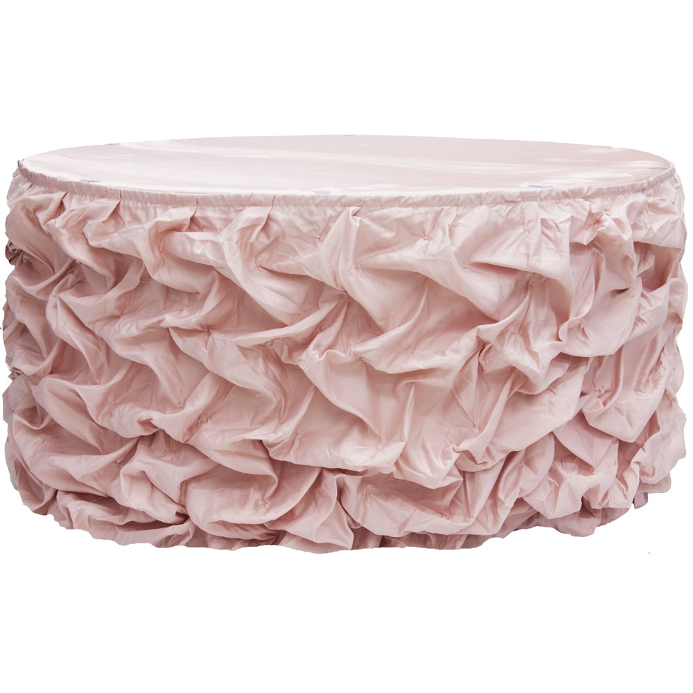 14ft Gathered Lamour Satin Table Skirt - Blush/Rose Gold