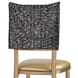 "Geometric Glitz Art Deco Sequin Chiavari Chair Cap 16"" x 14"" - Black"