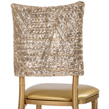 "Geometric Glitz Art Deco Sequin Chiavari Chair Cap 16"" x 14"" - Champagne"