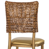 "Geometric Glitz Art Deco Sequin Chiavari Chair Cap 16"" x 14"" - Copper"