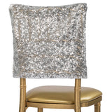 "Geometric Glitz Art Deco Sequin Chiavari Chair Cap 16"" x 14"" - Silver"