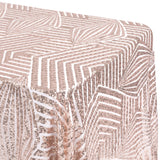 "Geometric Glitz Art Deco Sequin Tablecloth 90""x156"" Rectangular - Blush/Rose Gold"