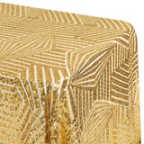 "Geometric Glitz Art Deco Sequin Tablecloth 90""x156"" Rectangular - Gold"