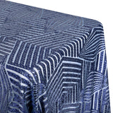 "Geometric Glitz Art Deco Sequin Tablecloth 90""x132"" Rectangular - Navy Blue"