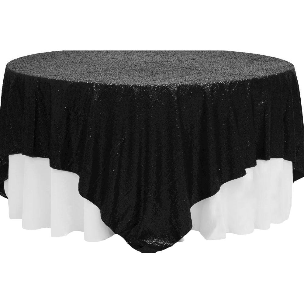 "Glitz Sequin Table Overlay Topper 90""x90"" Square - Black"