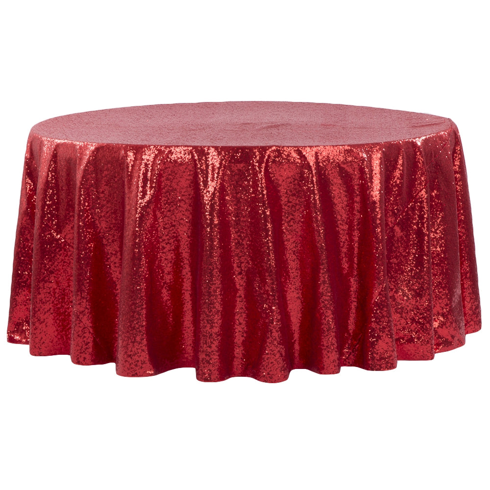 "Glitz Sequins 120"" Round Tablecloth - Red"