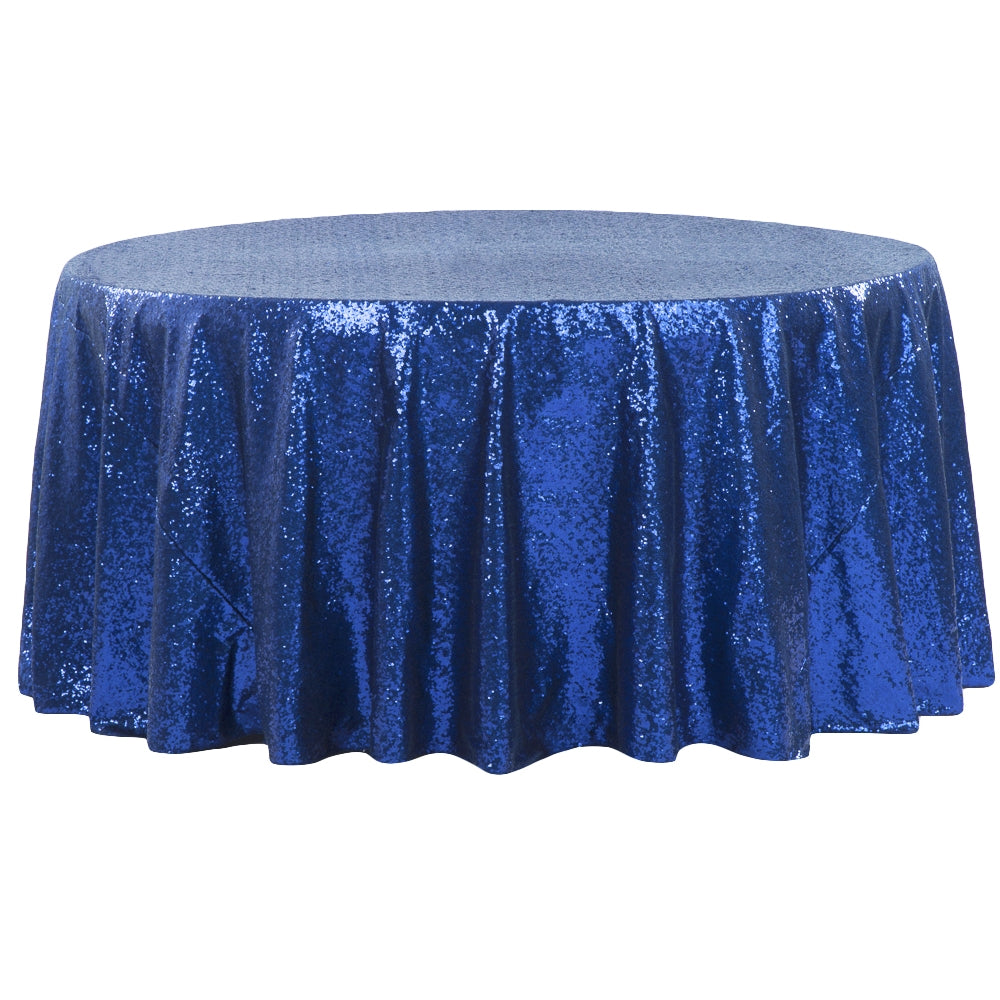 "Glitz Sequins 132"" Round Tablecloth - Royal Blue"