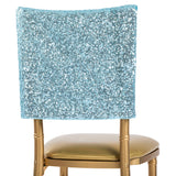 "Glitz Sequin Chiavari Chair Cap 16""W x 14""L - Baby Blue"