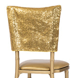"Glitz Sequin Chiavari Chair Cap 16""W x 14""L - Gold"