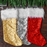 Glitz Sequin Christmas Stocking - Silver