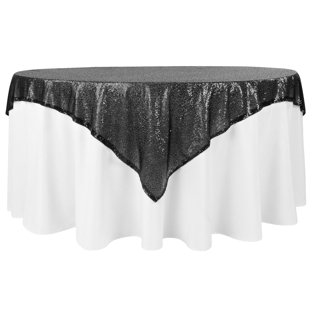 "Glitz Sequin Mesh Net Table Overlay Topper 72""x72"" Square - Black"
