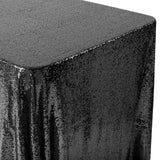 "Glitz Sequin Mesh Net Tablecloth  90""x132"" Rectangular -  Black"
