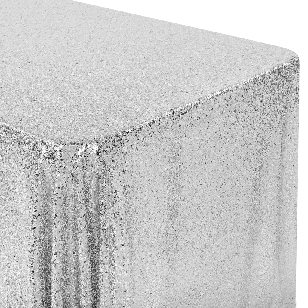 "Glitz Sequin Mesh Net Tablecloth  90""x132"" Rectangular -  Silver"