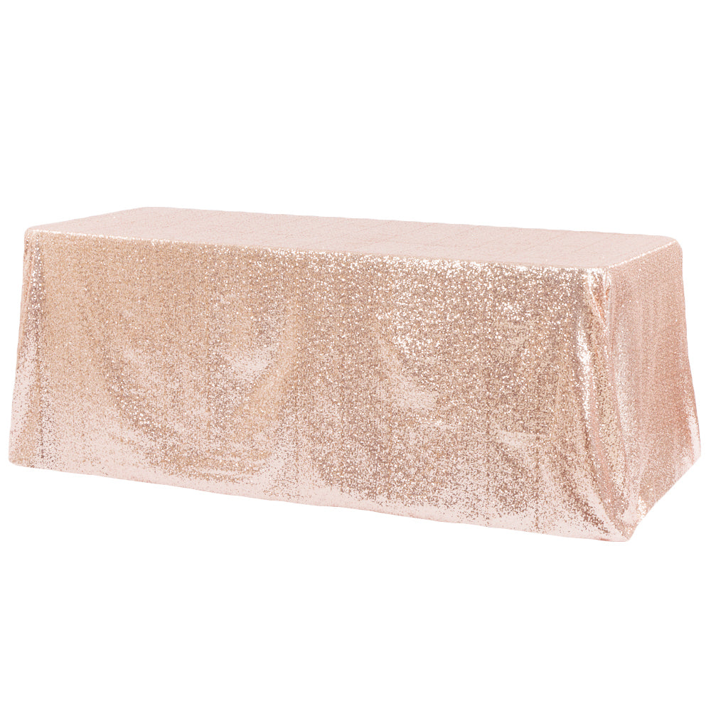 "Glitz Sequin 90""x156"" Rectangular Tablecloth - Blush/Rose Gold"