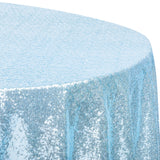 "Glitz Sequins 108"" Round Tablecloth - Baby Blue"
