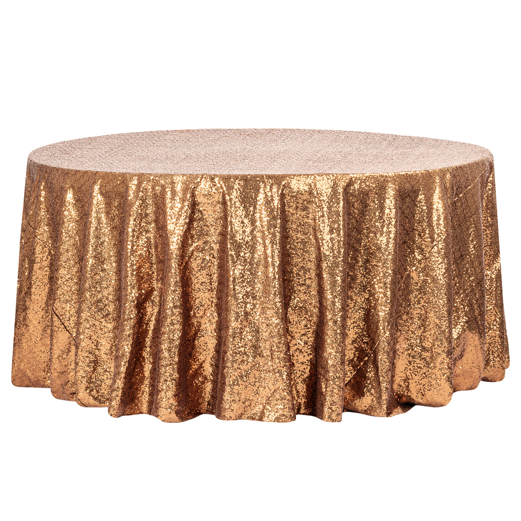 "Glitz Sequins 132"" Round Tablecloth - Copper"