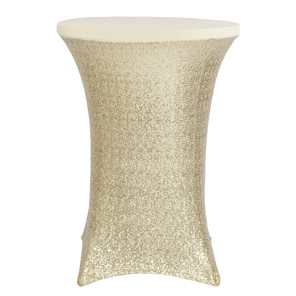 "Glitz Sequin Spandex Cocktail Table Cover 30""-32"" Round - Champagne"