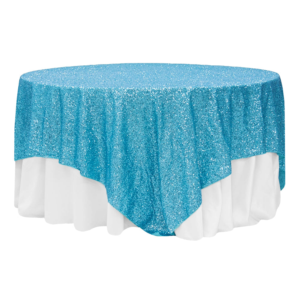 "Glitz Sequin Table Overlay Topper 90""x90"" Square - Aqua Blue"