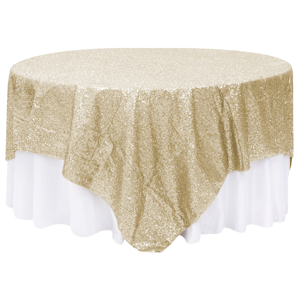 "Glitz Sequin Table Overlay Topper 90""x90"" Square - Champagne"